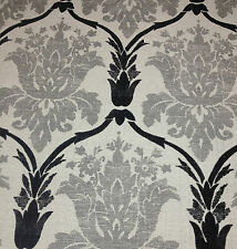 BALLARD DESIGNS OPHELIA GRAY CHARCOAL DAMASK NUBBY UPHOLSTERY FABRIC BY THE YARD