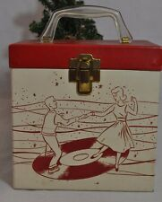 Vintage Platter-Pak 45rpm Recod Case with Index Tabbed Cards 1959 Red/Cream