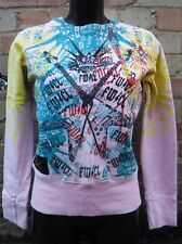 Ladies Sweater Fame Will Come Later UK Large Designer Light Pink Rare Splat