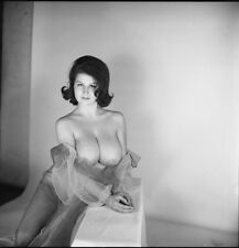1960s Stunning Pinup Nude Silk Gown exposing Triple D Breasts 8 x 8 Photograph
