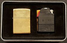 Zippo 1996 Solid Brass Unstruck Lighter & Ziplight in Tin Collector's Item