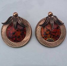 Vintage Renoir Copper and glass clip on Earrings