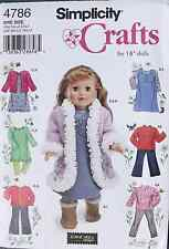 "18"" GIRL DOLL CLOTHES Simplicity Sewing Pattern 4786  American Made NEW Boots"