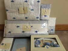 New 7pc Pottery Barn Kids Boy FISH Crib Quilt Bumper Mobile Set
