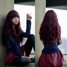 Women Cool Full Wig Corn Wavy Curly Long Wine Red Fluffy Hair Anime Costume Wig