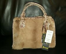 REAL FUR MINK VISON REAL LEATHER Nicola Firenze HANDMADE HAND BAG a
