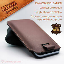 Apple iPhone 6S 6 Plus✔Brown Luxury Leather Pull Tab Slide In Case Sleeve Pouch
