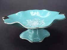 Royal Winton Grimwades Turquoise Compote Candy Dish White Roses Silver Trim
