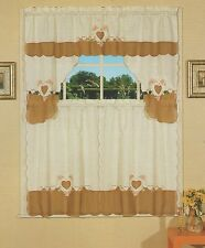 Embroidered Jacquard & Voile, Tier & Swag, 3 Pieces Kitchen Curtain Set Beige