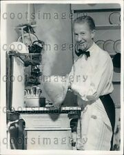 1955 Happy Danish Milliner A Thaarup Makes Hat in His Kitchen Press Photo