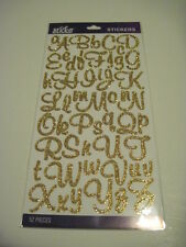 Scrapbooking Crafts Stickers Sticko Glitter Script Alphabet Gold Large Small