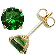 9ct Gold May Birthstone Stud Earrings Green Emerald Coloured Jewellery