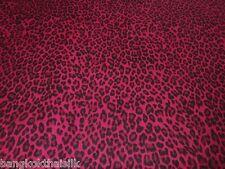 RASPBERRY PINK RED CHEETAH ANIMAL PRINT COTTON FABRIC Drape Table Cloth Decor