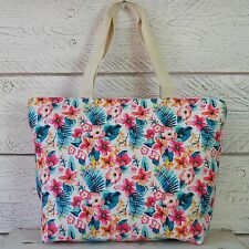 Large Shopping Tote Beach Maxi Canvas Hand Bag Vintage Pink Blue Tropical Flower