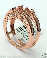 Antique Vintage Cathedral Ring Diamonds Guard Solitaire Enhancer 14k Rose Gold