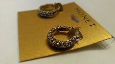 MONET Leverback PIERCED SMOKEY Topaz SPARKLE DANGLE EARRINGS Brushed GOLD