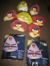 7 ANGRY BIRD RUBBER MASKS AND 2 ANGRY BIRD SPACE COSTUMES - BRAND NEW LOT !