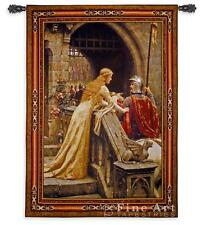 """Medieval TAPESTRY Knight Lady GODSPEED Leighton - BS 53""""x40"""""""