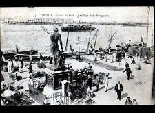 TOULON (83) BATEAU & MARINS au PORT animé en 1918