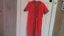 Vintage hand embroider dress.Size 12.Coral red in colour.