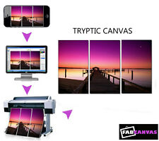 My/Your Photo/Image Print to Canvas A2 TRYPTIC 3 PIECE SPLIT canvas