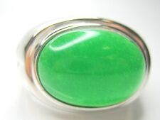 11.5/ W 1/2  MENS OVAL STERLING SILVER JADE GREEN RING