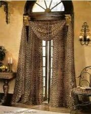 "HOTEL HIGH QUALITY LEOPARD SHEER WINDOW CURTAIN PANEL SIZE 63"" SHORT LENGTH 2PC"