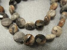 Silver Leaf Jasper Faceted Coin Beads 41pcs