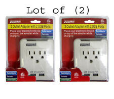 Lot of (2) Dual AC Outlet Wall Taps with Dual USB Charging Slots + Phone Holder