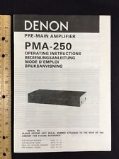 Denon PMA-250 Integrated Amplifier Original Owners Manual Combined Language 17pg