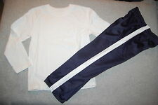 Toddler Boys 2 PC Outfit L/S WHITE TEE SHIRT Navy Blue Athletic Sweat Pants 2T