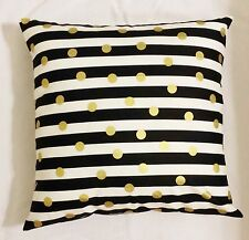 1 Black gold white stripe polka dot throw pillow cover sham 18 x 18 geometric