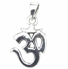 925 Sterling Silver Small OM PENDANT 18mm Drop  Aum Ohm