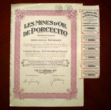 Les Mines d´Or de Porcecito SA Gold mines in Colombia  certificate 1928