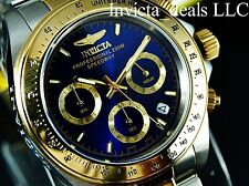 Invicta Mens 40mm Speedway Professional Chrono Gold Two Tone Blue Dial SS Watch