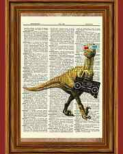 Dinosaur Raptor Boombox 80's Music Dictionary Art Print Poster Picture Book