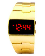 Cool Vintage Styling Red LED Gold Digital Fat Chunky Asymmetric Steel Watch