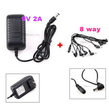 Guitar Effect Pedal 9V 2A Power Supply US Plug w/ 8way Daisy Chain Splitte Cable