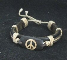 NEW LEATHER CARVED BONE PEACE SIGN  BRACELET jewelry fashion hippie men womens