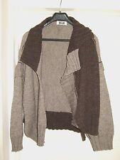 CREA CONCEPT Lagenlook Brown Beige Thick Wool Alpaca Mix Waterfall Cardigan L
