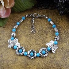HOT Free shipping New Tibet silver multicolor jade turquoise bead bracelet S49B