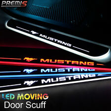 2x LED Moving Welcome Light Door Sill Scuff Plate Pedal For Ford Mustang 2015-16