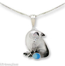 "Zarah Zarlite Siamese CAT NECKLACE Silver Plated Enamel 18"" Chain - Gift Boxed"