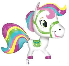 "RAINBOW COLOURFUL PONY SUPERSHAPE LARGE BIRTHDAY PARTY 46"" FOIL BALLOON!"