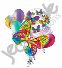 7pc Beautiful Colorful Butterfly Happy Birthday Balloon Bouquet Party Decoration