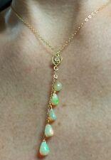 .1ct Diamond Heart 6ct Genuine Ethiopian Opals solid 14k gold necklace pendant