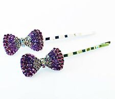USA Bobby Pin Rhinestone Crystal Hair Clip Hairpin Wedding Bowknot Purple B46