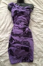 DKNY JEANS Lovely Little One Shoulder Dress in Purple Size US 2/6UK