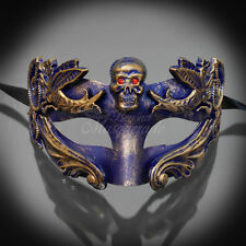 Men's Skull Roman Sun Warrior Venetian Gold with Blue Accent Masquerade Mask