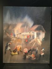 Charles Obas Painting Oil On Board Listed Haitian Artist Art Village Haiti 1960